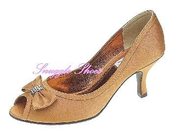 ed81978830 New Lynn Bronze Diamante Peeptoe Satin Wedding Evening Lexus Shoes Size 5 &  7