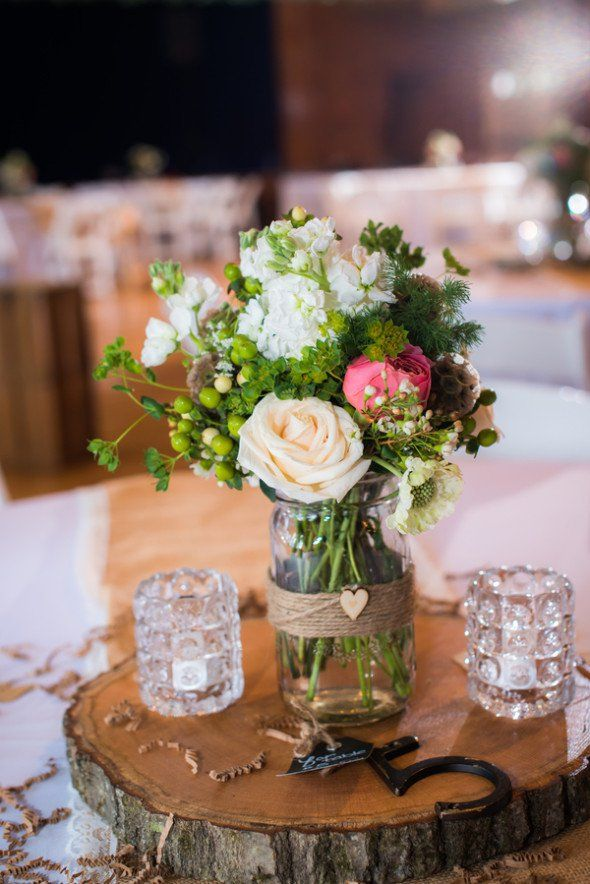 Summer camp wedding at kiwanee rustic centerpieces