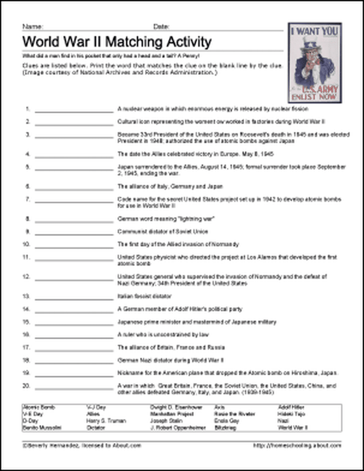 9 Worksheets That Will Teach Your Child About World War Ii Wwii