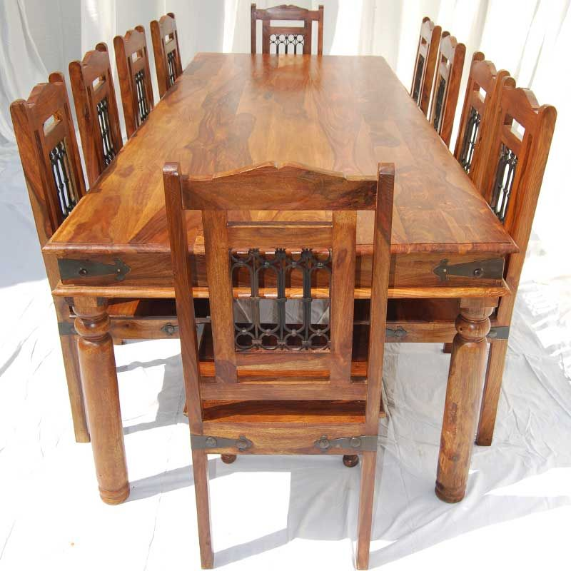 Large Rustic Dining Table Chair Set