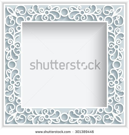 Square vector frame with paper swirls, ornamental lace background