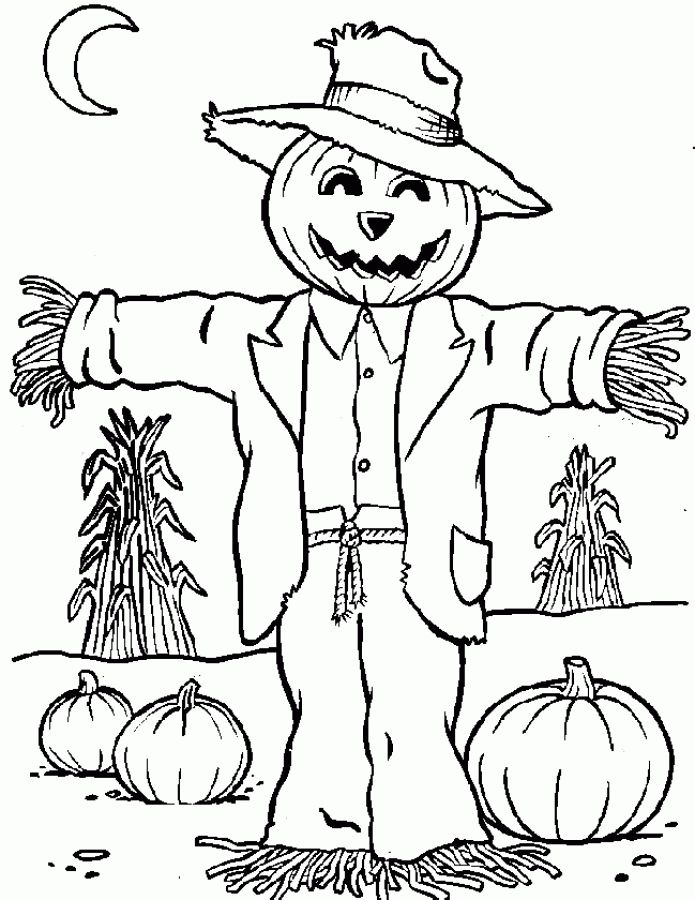 Free Scarecrow coloring pages … | coloring pictures | Color…