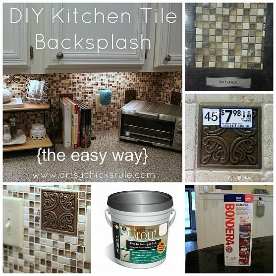 Kitchen tile backsplash do it yourself artsy cabinets and look at diy kitchen back splash the easy way uses bondera to stick the tiles to wall instead solutioingenieria Choice Image
