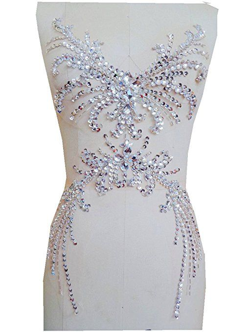 quality design f606d 2bd46 Pure Hand Made Dazzling Sew auf Strass Applikation silber ...