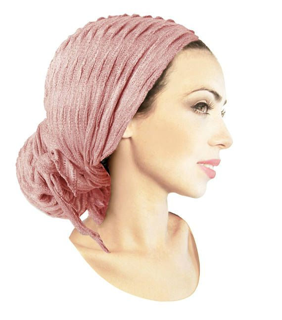 Champagne Pink Pre-tied Head-Scarf Tichel Shimmer Textured Breathable Knit Collection ShariRose Boho Chic Soft Spring Summer Lightweight #tieheadscarves