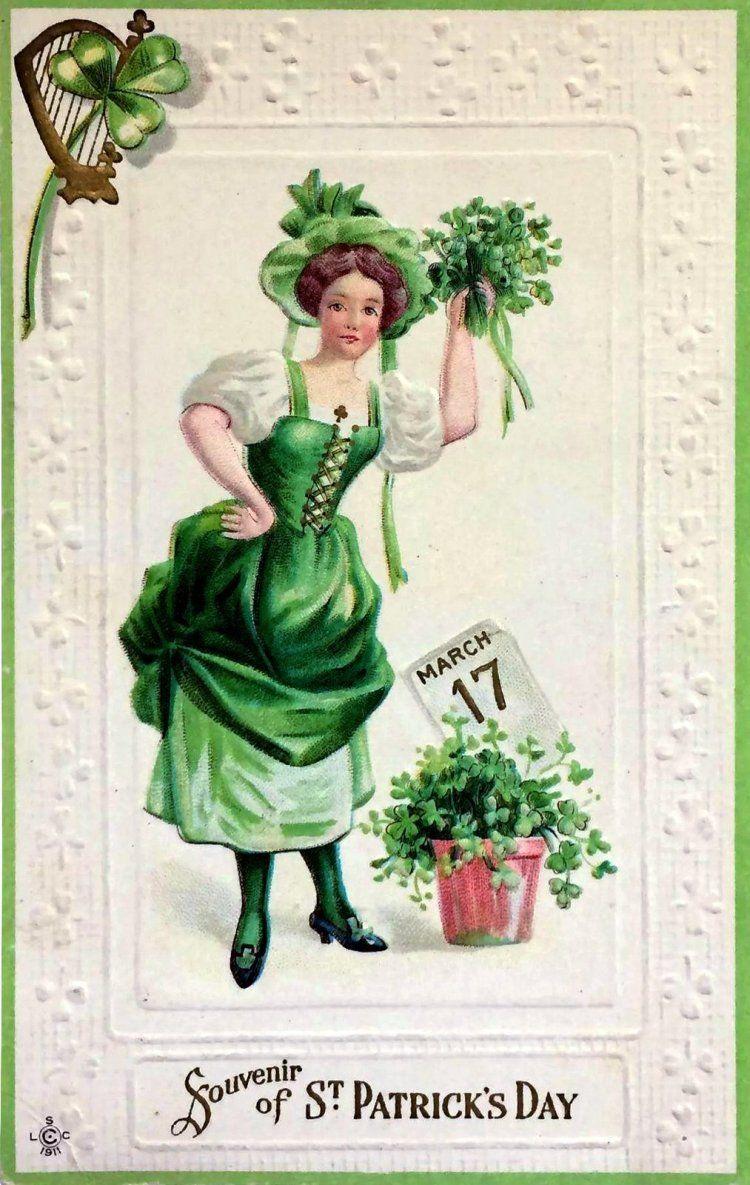 St Patrick/'s Day Vintage Postcard on Fabric Block Irish Girl Shamrock Clapsaddle