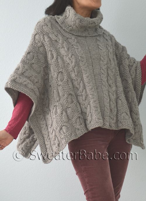 163 Cable Love Cowl Neck Poncho Pdf Knitting Pattern Cowl Neck