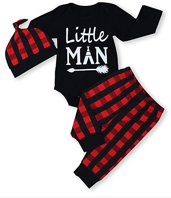 Newborn Baby Boy Girl Clothes Little Man Long Sleeve Romper Plaid Pants  Cute  Newborn Baby Boy Girl Clothes Little Man Long Sleeve Romper Plaid Pants  Cute Hat 3pcs Outf...