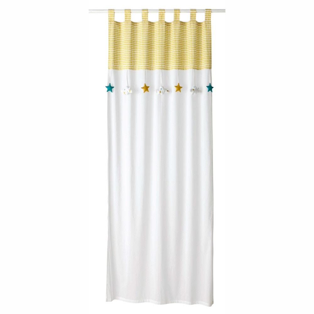 Cortina con presillas de algodón blanco e amarillo 110x250 - la ...