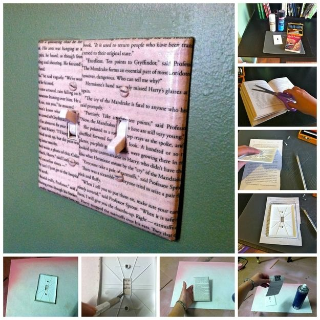 19 Adorable Ways To Decorate A Light Switch Cover. Would never cut up an  actual book. Maybe a photocopy.