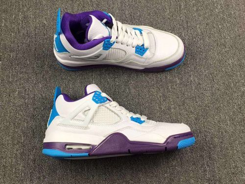Nike Air Jordan 4 IV White Purple Blue Womens Basketball Shoes AAA ... 9bc24c089