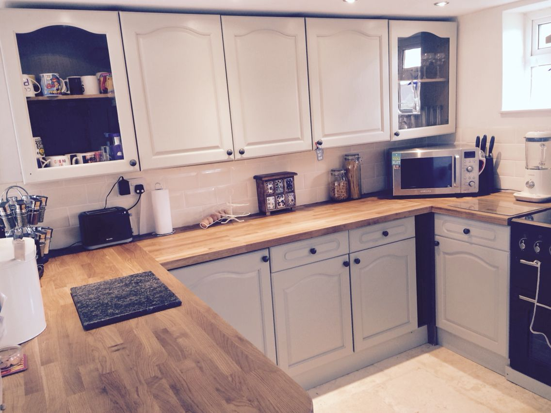Best Farrow Ball Mizzle Painted Up Cycled Kitchen With Oak 400 x 300