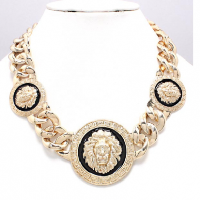 YFF Gold and Black Triple Lion Head Necklace