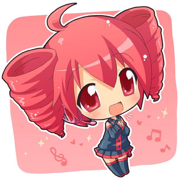 ahoge chibi drill hair hahifuhe kasane teto red eyes red hair twin drills vocaloid found on Polyvore