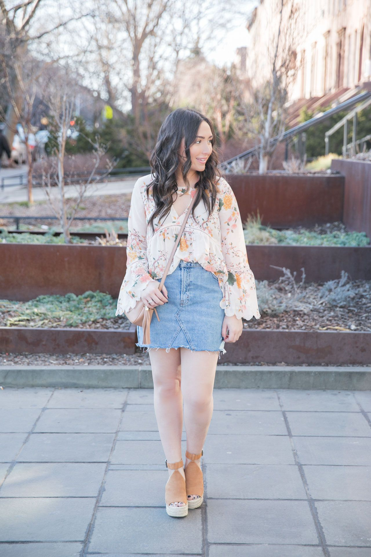 Floral bell sleeve blouse and denim skirt for spring paired with the best neutral platform espadrille wedges on The Fashionista's Diary