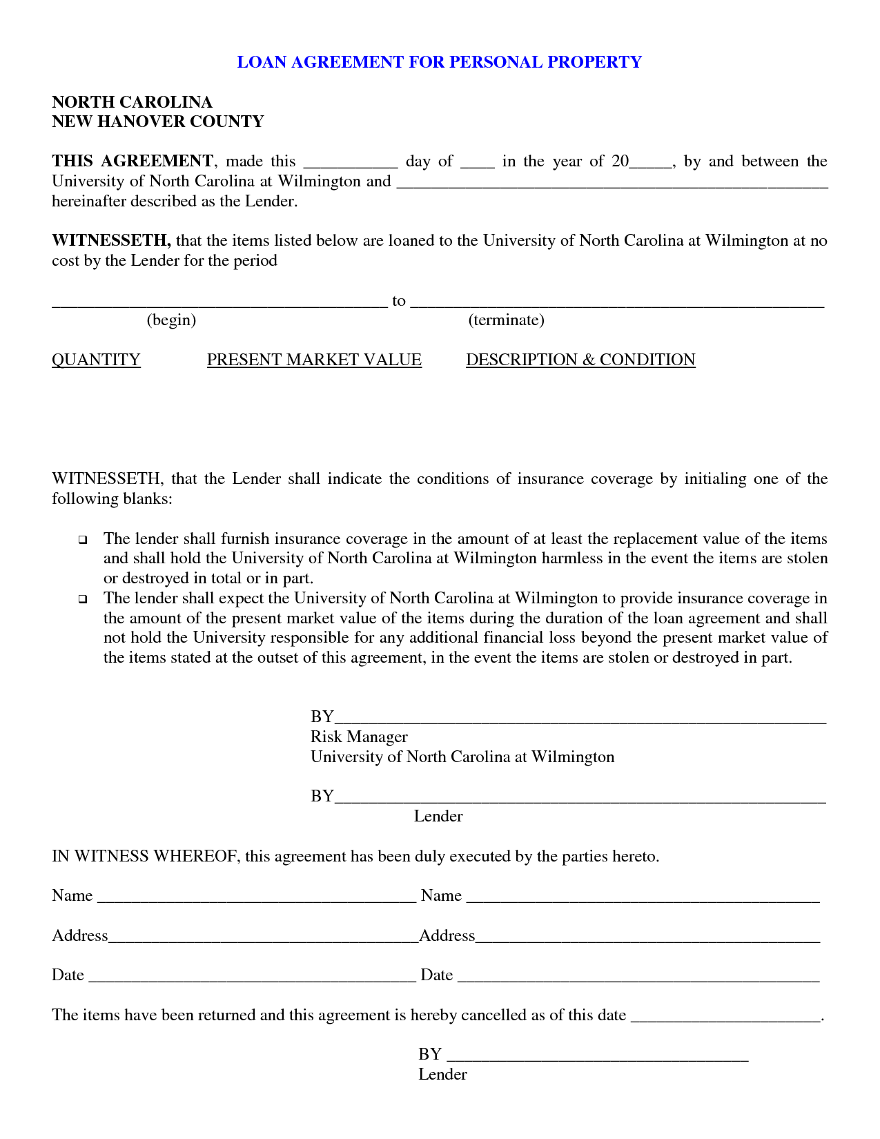 Printable Sample loan contract template Form – Sample Business Loan Agreement