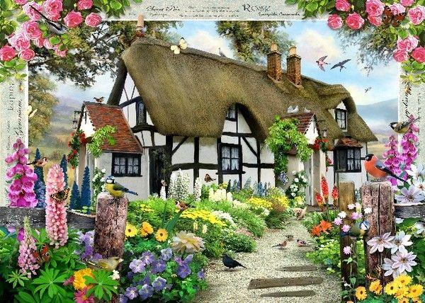 Beaux Tableaux De Howard Robinson Page 7 Jardins Champetres Jardin De Cottage Anglais Dessin Maison De Jardin
