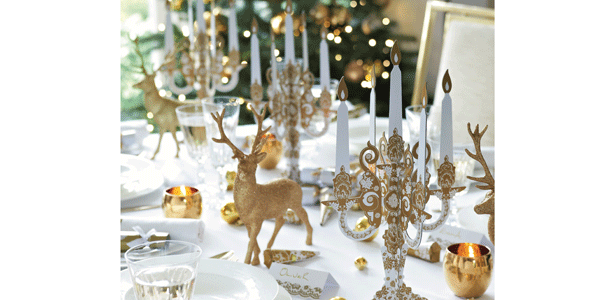 Party Porcelain Gold Range Glitter Reindeer Christmas Decorations Centerpiece Reindeer Decorations