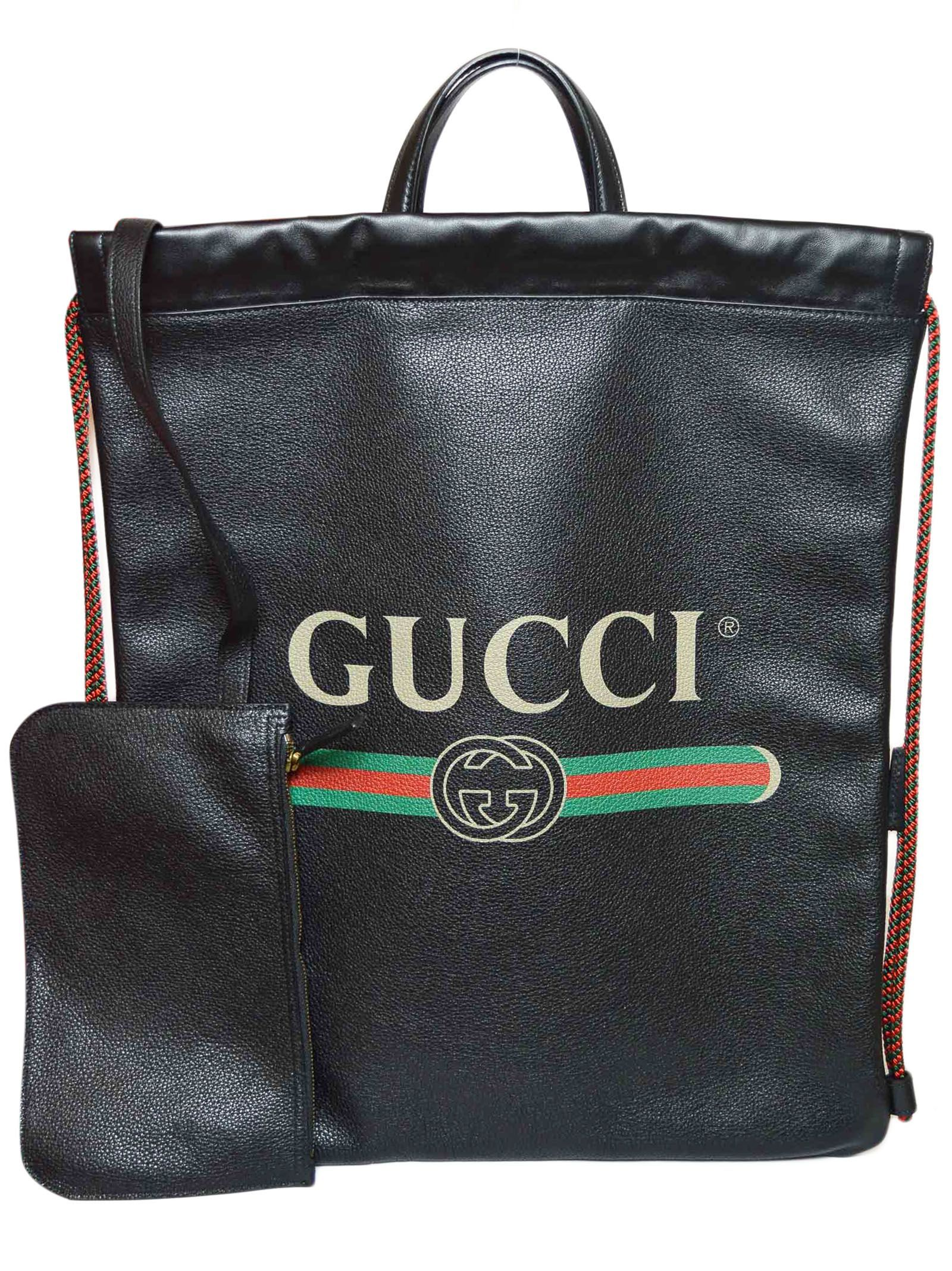 ac70b4756a6a GUCCI LOGO PRINT DRAWSTRING BACKPACK.  gucci  bags  leather  backpacks