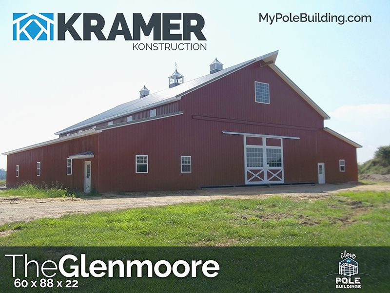60x88x22 - The Glenmoore - MyPoleBuilding.com