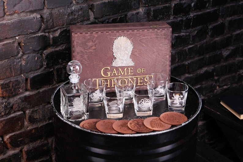 Game of Thrones Gift, Whiskey Glasses Set, House Stark, House Targaryen, Whiskey Gift, Mens gift, Gift for him, Gift for men, Fathers gift,