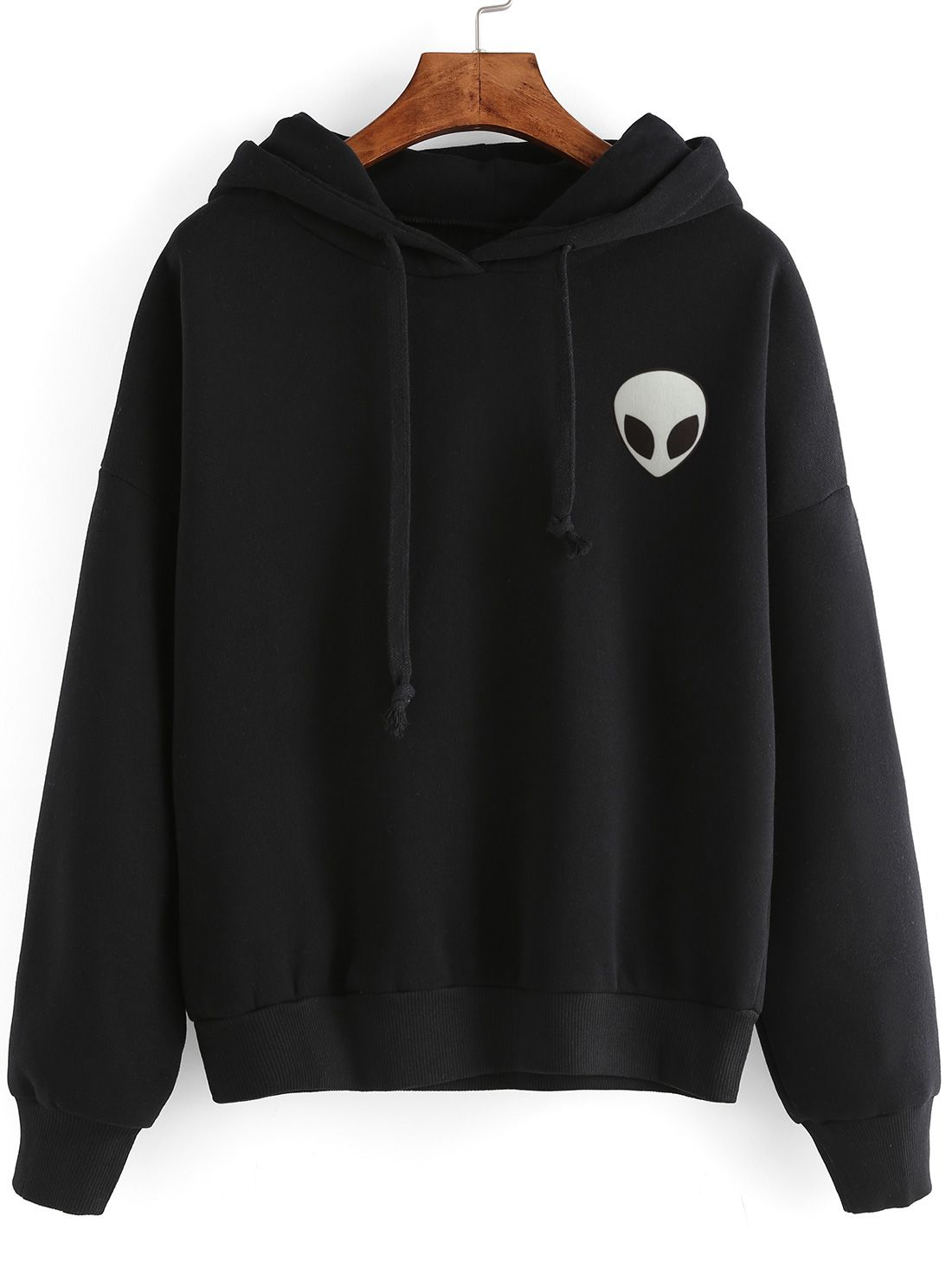 Alien Print Hooded Sweatshirt | Sweatshirts online, Sweatshirt and ...