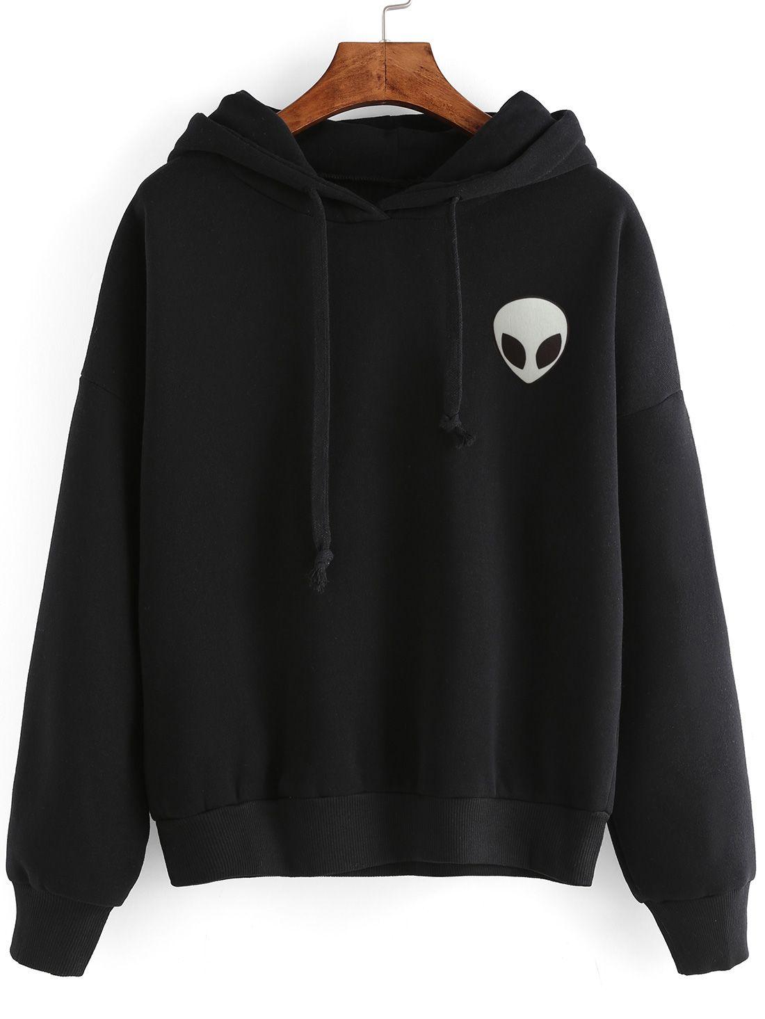 Alien Print Hooded Sweatshirt