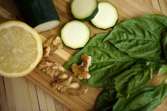 Oil-Free Vegan Pesto   Detoxinista   1 cup diced zucchini 1 handful fresh basil leaves (about 3/4 oz.) 4 garlic cloves (I love garlic, but feel free to use less) ½ cup raw walnuts 1/4 cup water 2 Tablespoons fresh lemon juice 1/2 teaspoon sea salt, or to taste