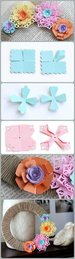 DIY Dimensional Paper Flowers - decorative punched design  http://www2.fiskars.com/Crafting/Projects/Entertaining-Parties/Decorations/DIY-Dimensional-Paper-Flowers#.US3g0aVRZRx