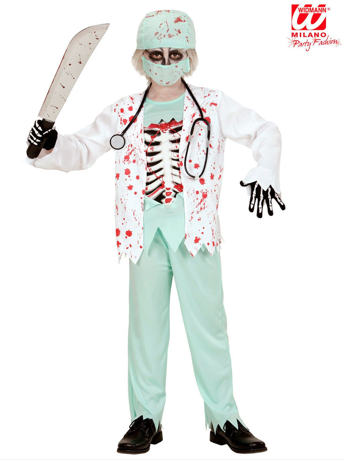 Blutiger Zombie Arzt Halloween Kinderkostum Chirurg Weiss Hellgrun