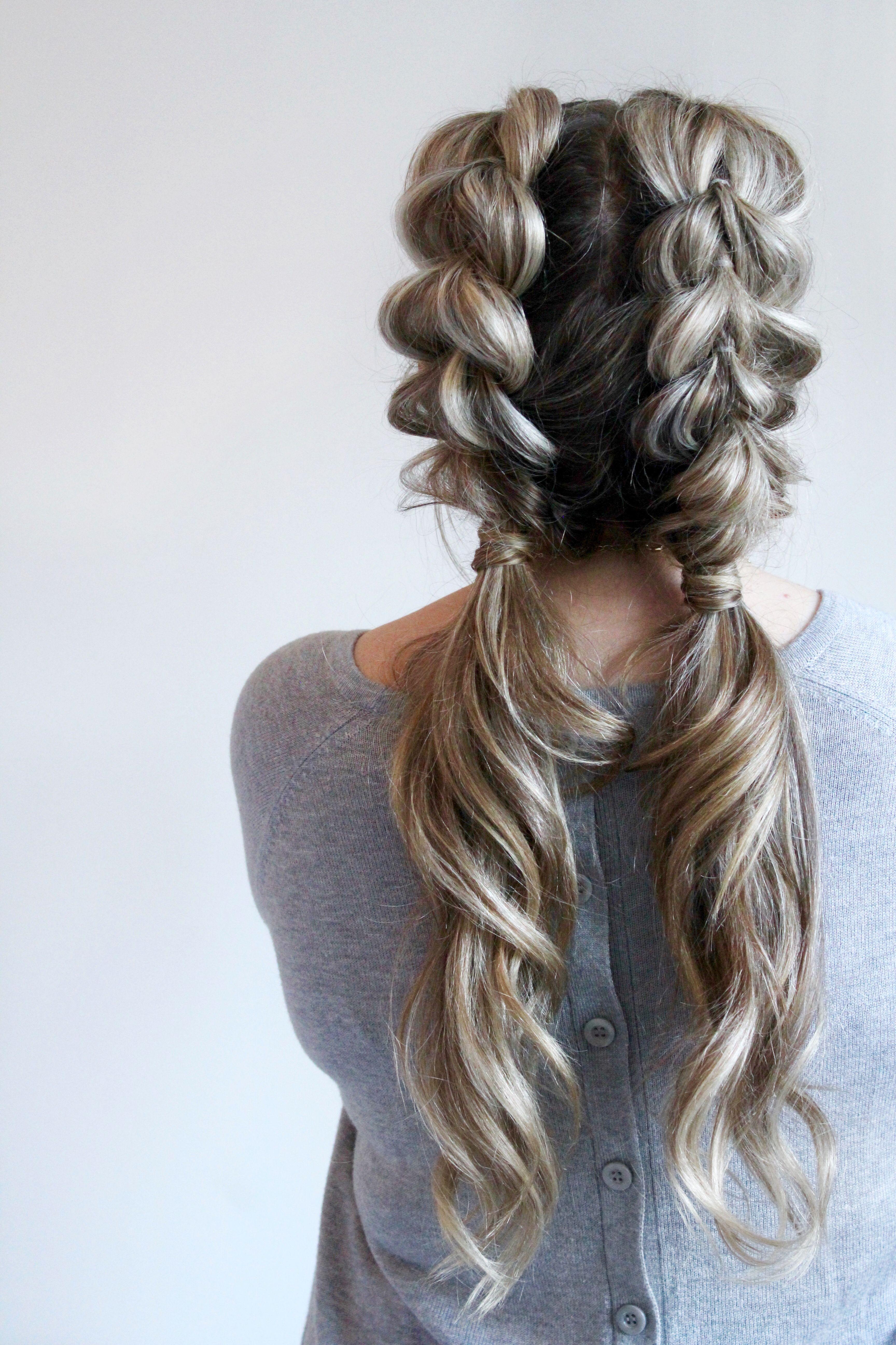 Jumbo pull through braid pigtails tutorial hairstyles pinterest