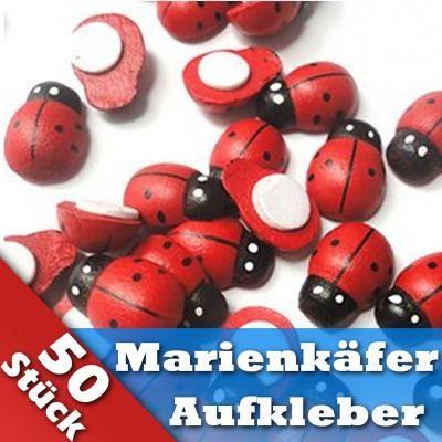 Marienkaefer-Glueckskaefer-Aufkleber-Holz-Dekoration-Deko-basteln-50-Stueck