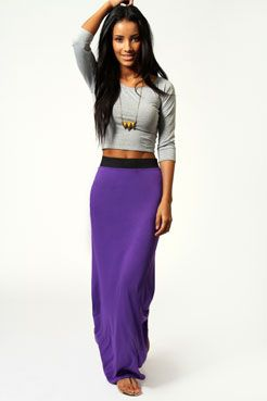 8783b60a7dc7 Contrast Waist Jersey Maxi Skirt | Closet in My Head | Fashion ...