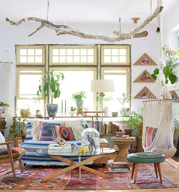 Hang Driftwood From The Ceiling Strung With Lights To Bring Nature Inside Bohemian Living Room Decor Home Decor Bedroom Bohemian Living Room