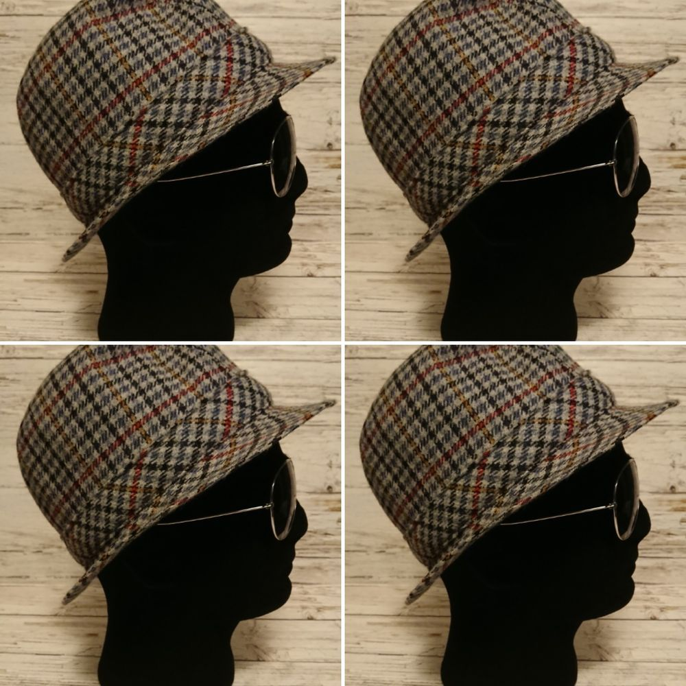 Vintage 1980 S Men S Trilby Wool Blend Checked Blue Hat Size S Unbranded Trilby Everyday Trilby Vintage Outfits Wool Blend