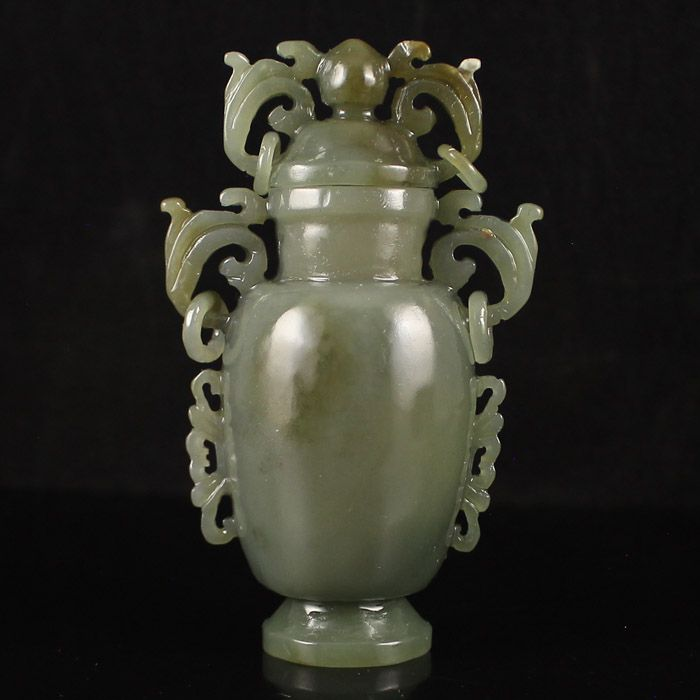 Superb Hand Carved Chinese Natural Hetian Jade Bottle w Lid