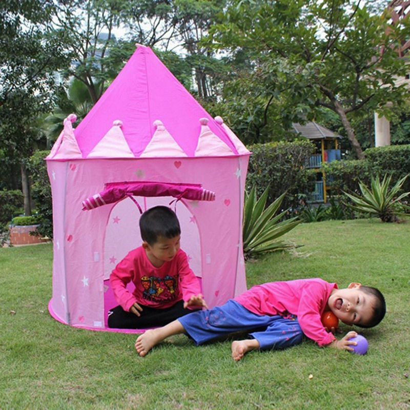 Portable Princess Castle Tent Pink Children Tent Pop Up Playing Game Kids Girls Outdoor House( & Portable Princess Castle Tent Pink Children Tent Pop Up Playing ...
