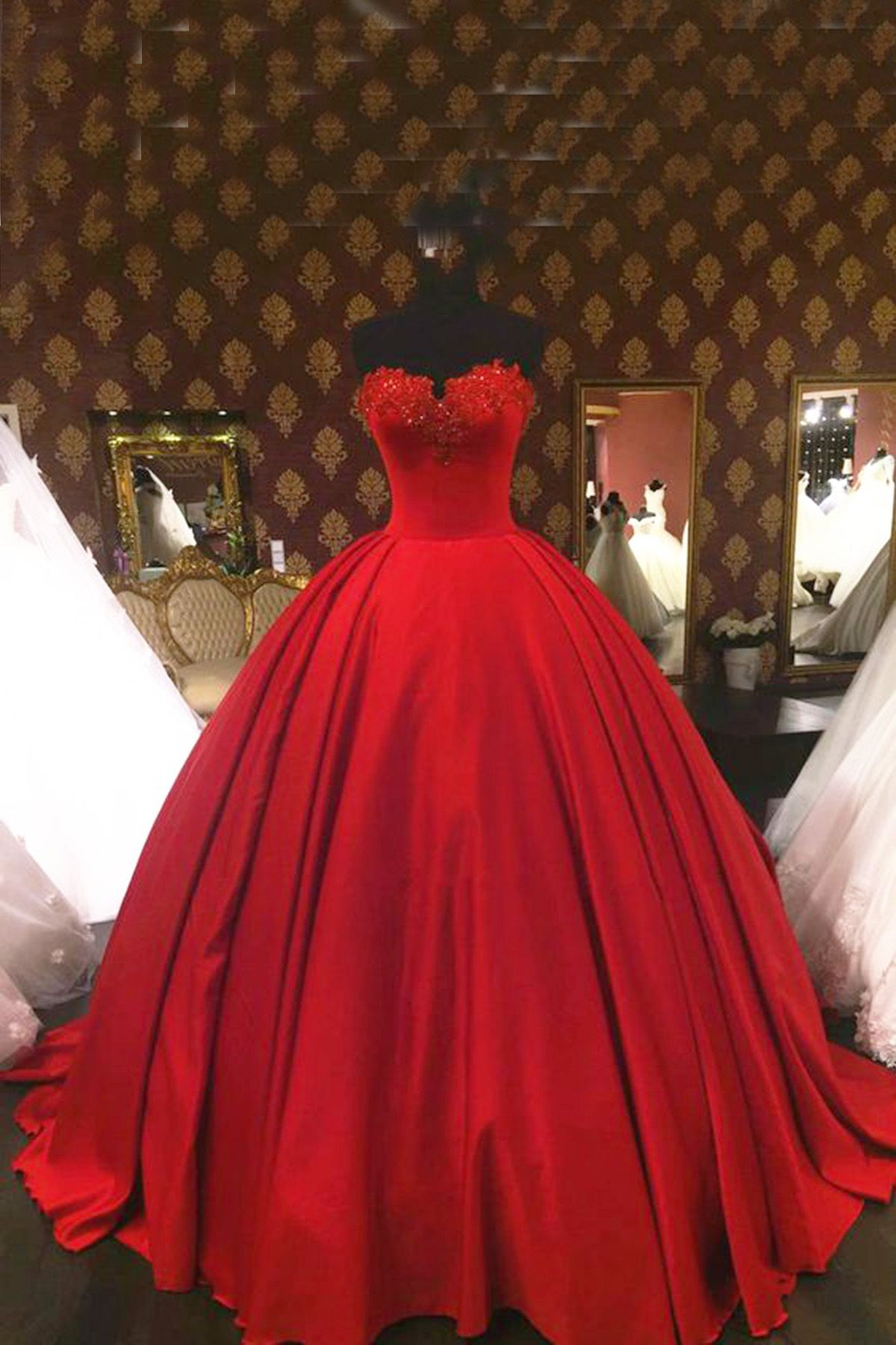 Red satin high waist prom dress ball gowns wedding dress ball