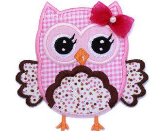 Pink Polkadot Owl sur tissu Applique Patch - enfants / bébé
