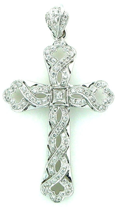 Diamond Cross Pendant With A Swirl Design