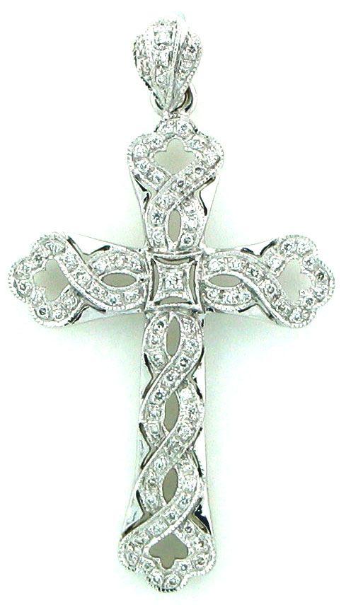 Diamond Cross Pendant With A Swirl Design