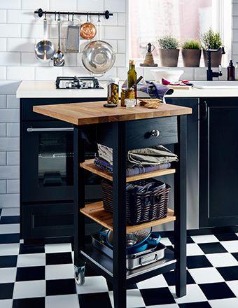 Troli Dapur Kayu Ikea Dengan Daun Meja Lipat Yang Dapat Dipanjangkan Digunakan Sebagai