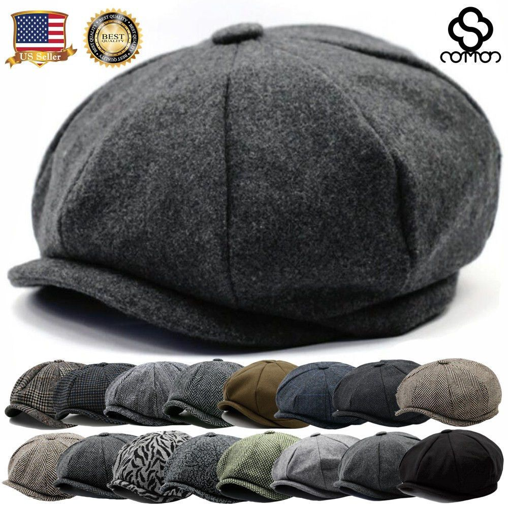 Mens Flat Cap Tweed Grey 8 Panel Newsboy Baker boy Hat Gatsby Peaky  Blinders USA  18402c04c79