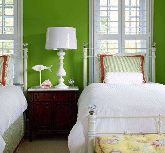 Southampton Li Weekend House Bella Mancini Design Bedroom Green Green Wall Color Green Headboard