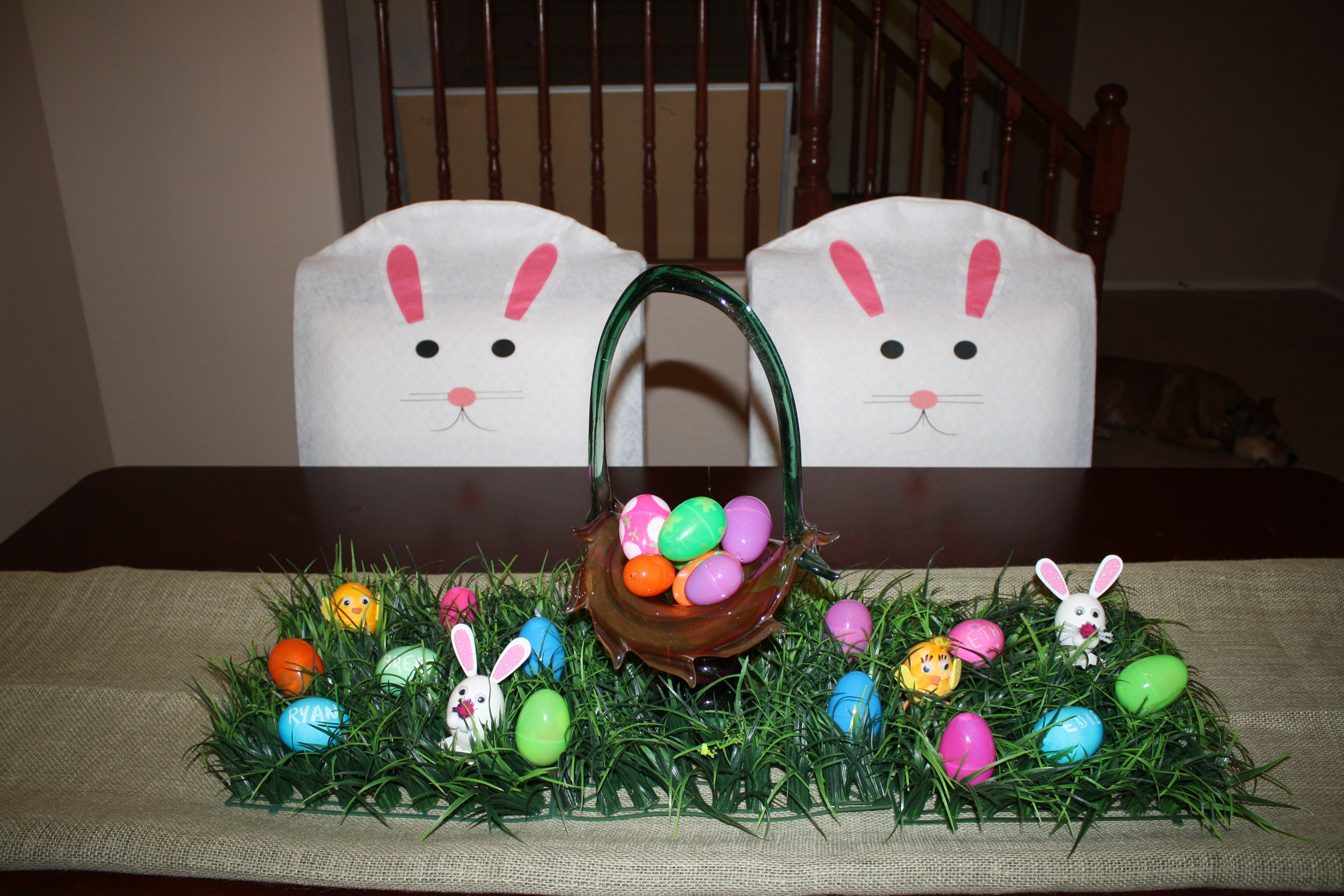 dollar tree bunny chair covers upholstered living room fake easter grass from hobby lobby burlap table runner