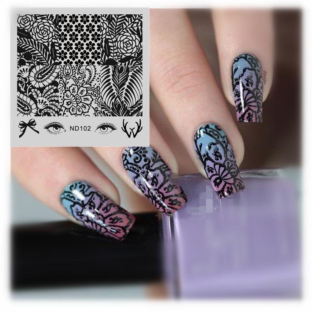 NICOLE TAGEBUCH Nail art Stamping Platten Blumenmuster Edelstahl ...