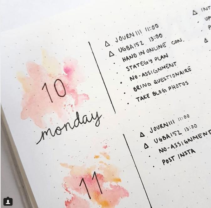 30 Gorgeous Watercolor Bullet Journal Layout Ideas | Elizabeth Journals #bulletjournaling