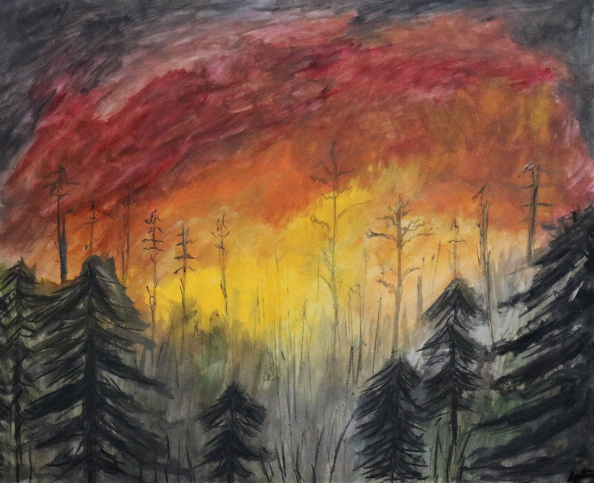 Wildfire Watercolor Fire Drawing Natural Disasters Art Painting