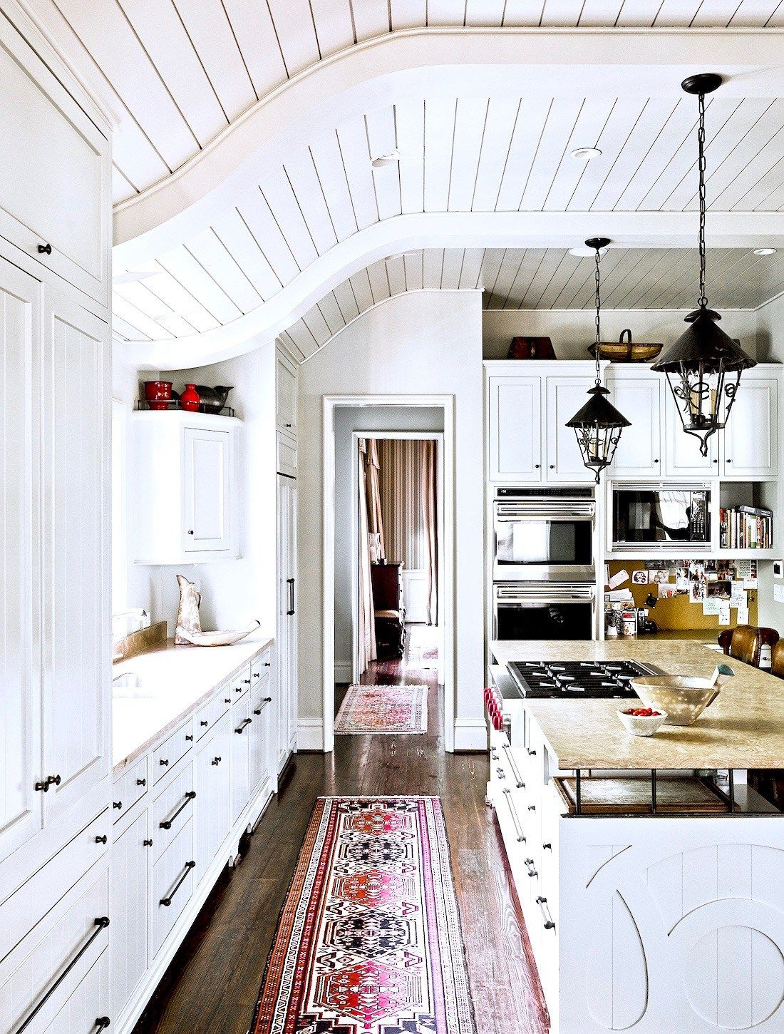 Country Farmhouse Kitchen   Curved Tongue + Groove Ceiling