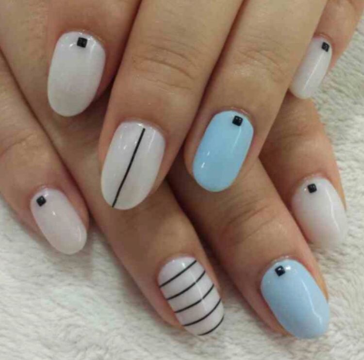 Love these #monochrome nails with a hint of powder blue #nails ...